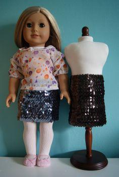 Sequin skirt for 18-inch doll by nest full of eggs