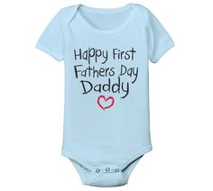Happy FIRST Father's Day DADDY funny maternity cute baby boys blue infant onesie newborn new outfit One Piece 1320