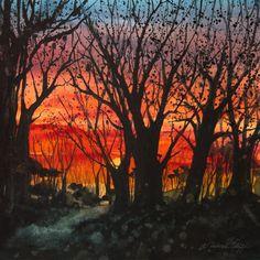 Watercolor Giclee Print  Home Before Dark by OlliffStudio