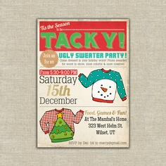 Ugly sweater party christmas holiday invitations. $37.50, via Etsy.