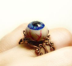 Eyeball ring. Polymer clay, painted, epoxy resin.