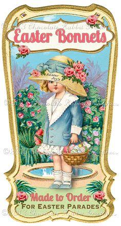 Easter Bonnet Gift Label Digital Download Printable Tags