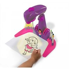 With the Dora the Explorer Trace & Learn Projector, kids can trace and color in 40 different images of Dora, letters, numbers, and English and Spanish words.