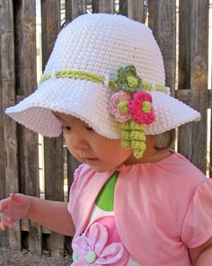 CROCHET PATTERN - Spring Garden - a spring/summer hat with flowers in 6 sizes (Infant - Adult S) - Instant PDF Download, $5.5 pattern