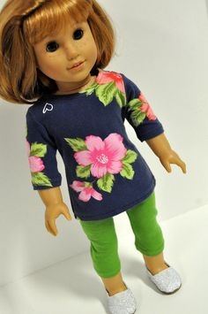 American Girl Doll Clothes Floral Print Tunic by CircleCSewing