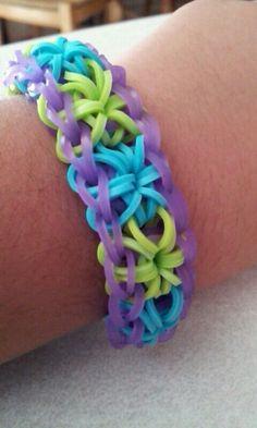 Rainbow loom starburst bracelet, love the colors on this one.