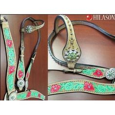 hand painted one ear headstall and breastcollar ... love these colors together