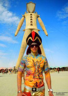 Burning Man Body Art by Lara Chromium