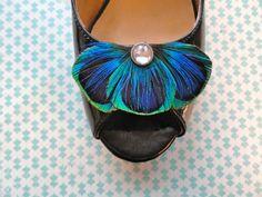 Accessoires invités - Clip à chaussures Baley plumes de Paon