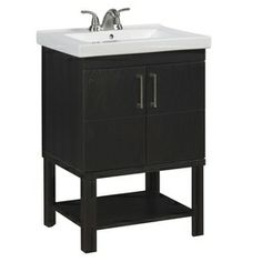 Guest Bath  allen + roth 24-in Rustic Oak Foley Bath Vanity with Top
