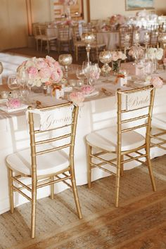 "Formal ""Bride"" and ""Groom"" Chairs"