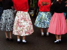 skirts - 1950s style  often with can cans underneath