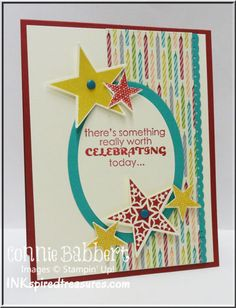 SU! Simply Stars and Remembering Your Birthday (sentiment) stamp sets; Birthday Basics DSP; Real red, Very Vanilla and Bermuda Bay ink; Real Red and Summer Starfruit card stock - Connie Babbert