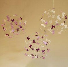 Butterfly Mobiles Purple Nursery Decor Baby Crib by ButterflyOrbs, $98.00
