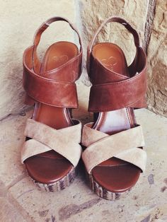 Lovely leather detail summer wedges