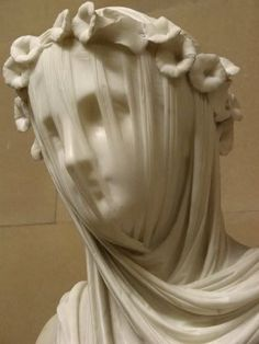 Veiled Vestal by Raffaele Monti (1818-1881), marble, in Chatsworth House collection (England) -- it was seen in the 2005 version of Pride & Prejudice (by Elizabeth Bennet (aka Keira Knightly).