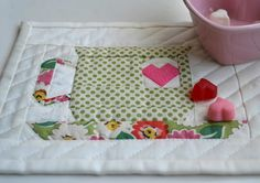 """d-a-r-l-i-n-g!!! Valentine mug rug by Morgane. (Link to pp tutorial at """"Where the Orchids Grow"""")"""