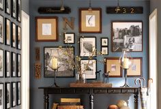 wall colors, living rooms, frame, blue, gallery walls, paint colors, live room, pottery barn, entryway