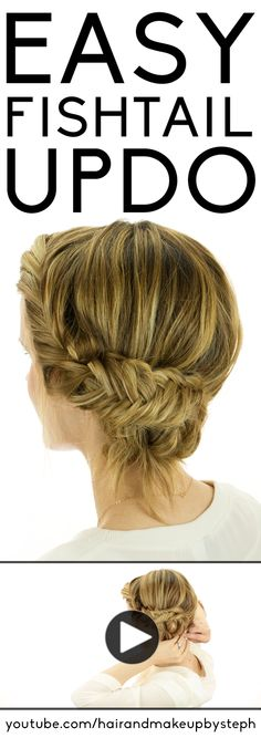 Video tutorial for an easy fishtail braid updo.  #fishtailbraid super easy to follow tutorial