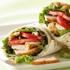 Italian Chicken Wraps - Fill tortillas with Italian herb-flavored chicken and vegetables and roll up for a tasty sandwich.