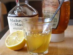 Honey, lemon and whiskey toddy.....perfect for cold/flu cough.