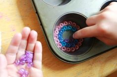 These look fun! Use pony beads to make sun catchers.  Melt them in a muffin tin in the oven for 25 minutes or on the grill for 10.  Supposedly they pop out without any residue or damage to the pan.