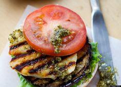 Grilled Eggplant, Halloumi And Pesto Burgers Recipe