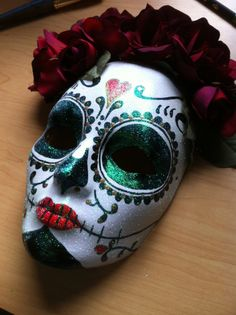 Day of the Dead Skull and Roses hand painted mask by ByLisaArt