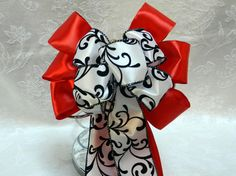Wedding French Damask bow set on Red Satin by creativelycarole, $132.00
