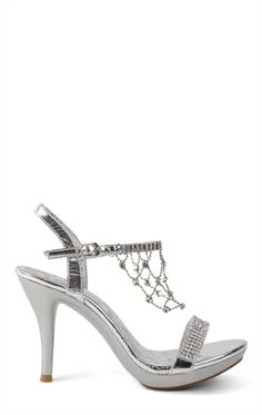 Open Toe High Heel with Small Platform and Dangling Rhinestones