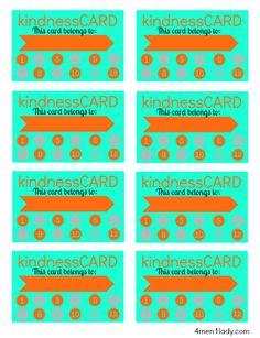 free printable kindness card for good behavior board. @Michelle (4 Men 1 Lady) (www.4men1Lady.com).com   #freeprintables #behavior