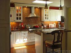 #Kitchen of the Day: Photo by Designer Kitchens LA. brick color, kitchen idea, designer kitchens, design kitchen, diamond tile, tile backsplash, color backsplash, white cabinets, kitchen la