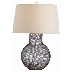 Arteriors Pierce Antique Brass Chainmail / Glass Lamp