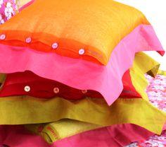 Cuscini in organza bicolore
