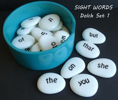 Sight Words Set 1 - pick a sight word 'pebble' and ask your child to find the same word in their reading book.  Soon they will be finding more matching sight word pebbles!