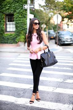 #OOTD: @kattanita in Peplum top with black @hudsonjeans high-waisted skinny jeans available at #NSALE @Nordstrom