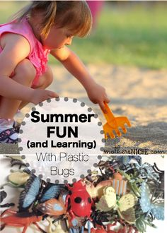 Have fun exploring with plastic bugs in the dirt kid activ, plastic bug, kid craft, kid summer
