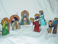 Stained Glass Nativity Set With Votive Holders Mary Baby Jesus Wise Men Angel