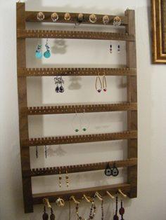 Large Walnut Jewelry Hanger, Earring Holder, Bracelet and Ring Rack