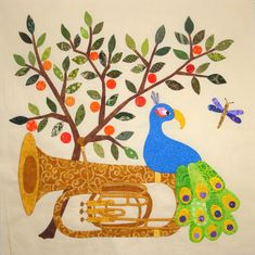 """Orange Grove Tuba, in: """"Baltimore Rhapsody"""":  a music-inspired Baltimore Album quilt by Teresa Yielding Rawson at Fabric Therapy Online."""