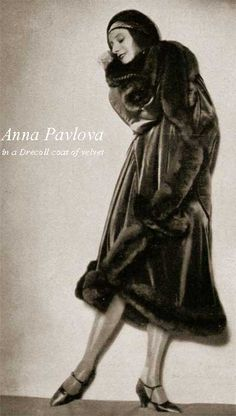 Lofficiel-de-la-mode- Anna Pavlova in-a-Drecoll-coat The wrap-over coat in tweed was the favorite winter coat, and if you could afford it, you draped your self in velvet and furs. Opulence was the key. #Downton #Fashion #Era