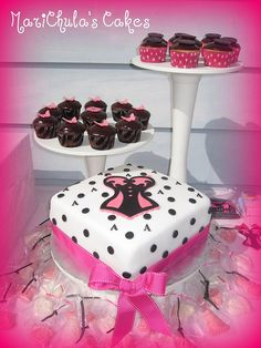 Bridal Shower Cake, cupcakes and Chocolate party favors
