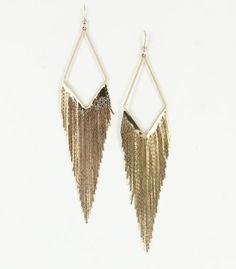Gold Tone Cascade Fringe Earrings