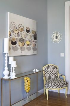 paint color, contemporary kitchens, chairs, colors, wayne thiebaud, hous, yellow, benjamin moore, design
