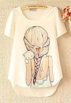 Plaited hair t-shirt from Moonlightgirl $27cad