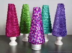 DIY Sequin Tree and Glitter Ribbon Tree Tutorials at artsyfartsymama.com