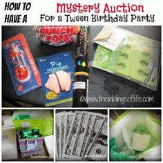 The Inklings of Life: Mystery Auction for a Tween or Teen Birthday Party. I love this idea. We will be doing this at someone's party :) leeann