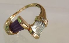 Vintage 14K  Amethyst Blue Topaz Diamond Ring/ by EclairJewelry, $270.00 gift, diamond