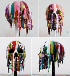Markus Linnenbrink, Skull 3 & 4 – lifesize painted teaching skull, 2011. Epoxy resin and pigments.