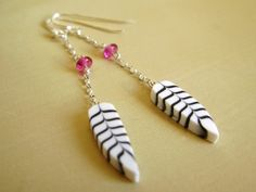Feather earrings in polymer clay sterling by lesfollesmarquises, $39.00